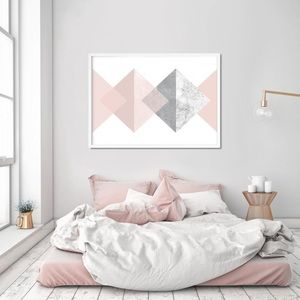"""Other - Pink and Grey Geometric Print - 24"""" x 36"""""""